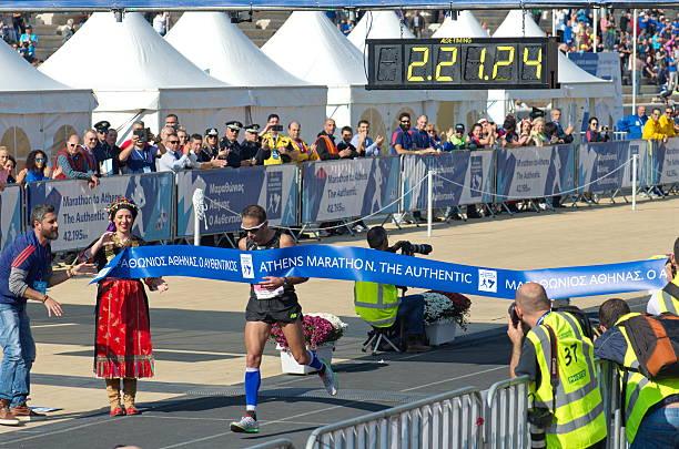 Winner Of the Athens Classic Marathon stock photo