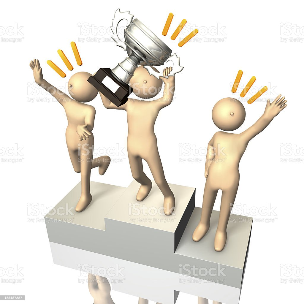 Winner on the podium royalty-free stock photo