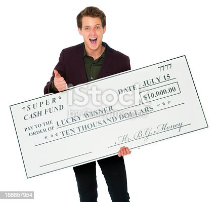 A smiling young man holding a large $10,000 check.