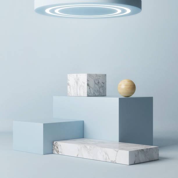 Winner Podium abstraktes Konzept, blauer Hintergrund – Foto