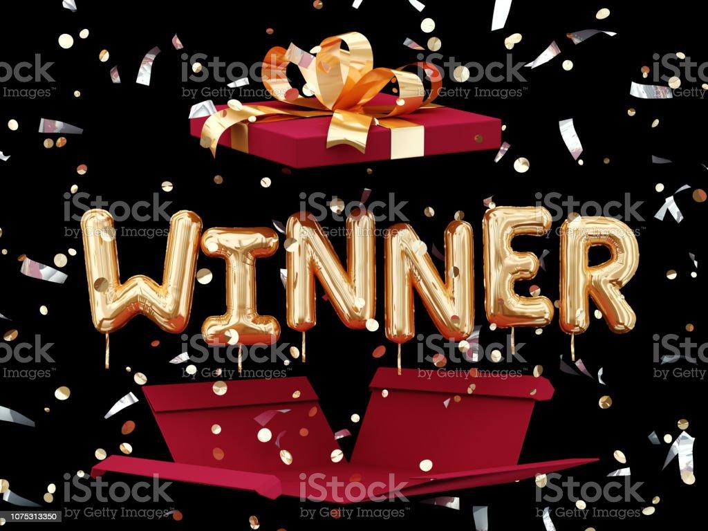 Winner sign text, gift box present stock photo