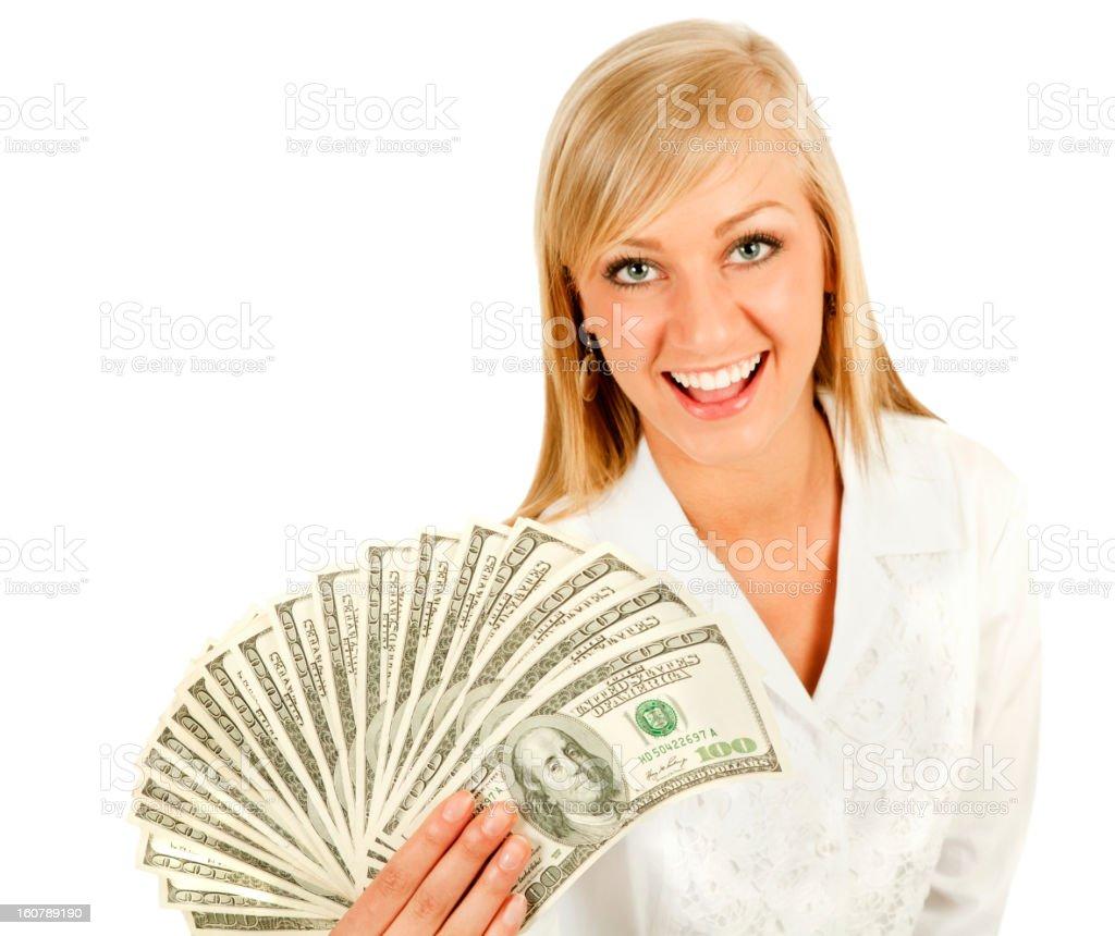Winner Success Rebate Woman holding lots of money stock photo