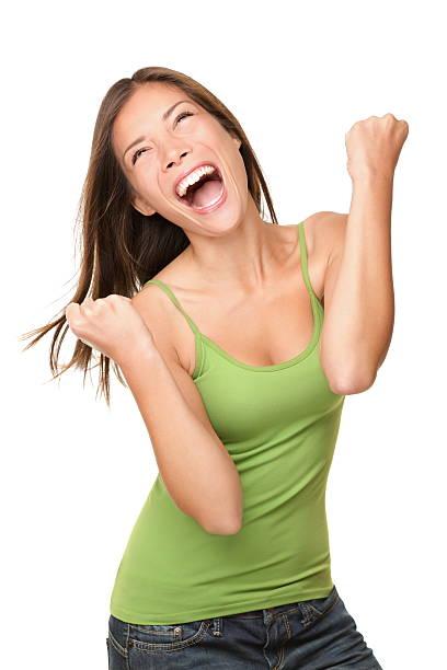 Ganador éxito mujer - foto de stock