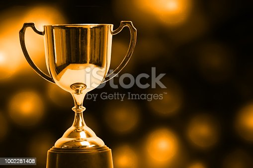 istock Winner trophy with abstract bokeh light background. 1002281408