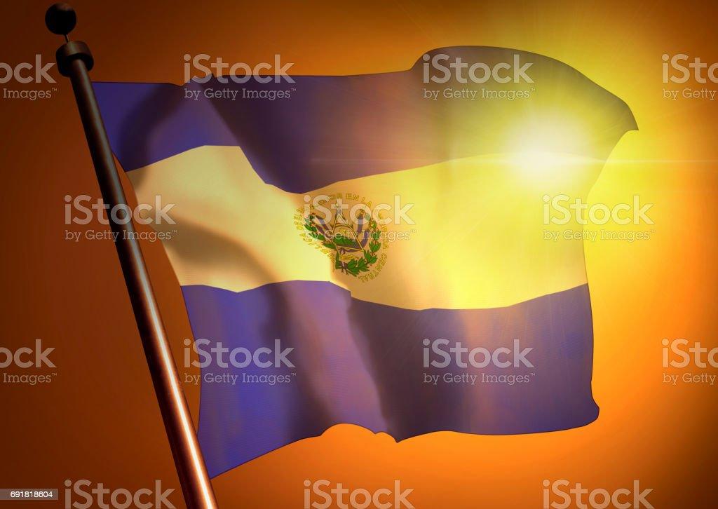 winner waving El Salvador flag against the sunset stock photo
