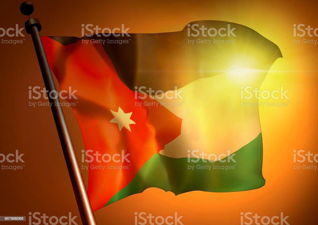 winner waving Jamaica flag against the sunset, 3d illustration stock photo
