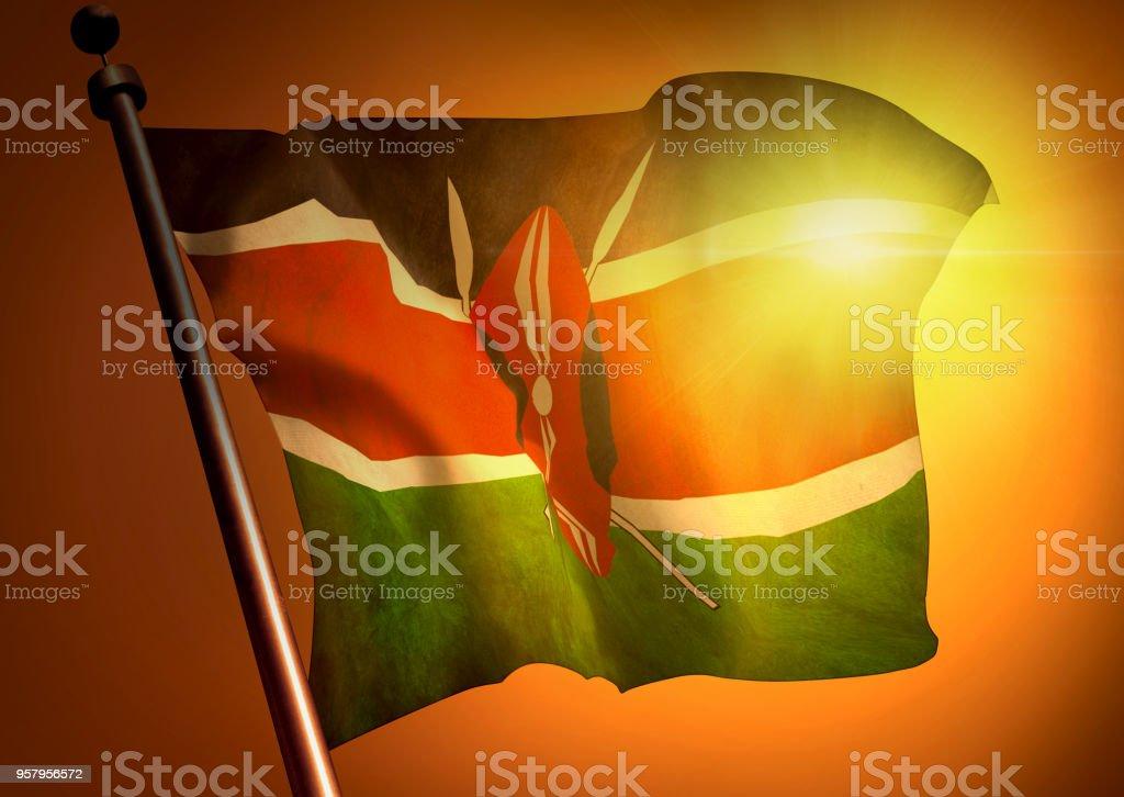 winner waving Kenya flag against the sunset, 3d illustration stock photo