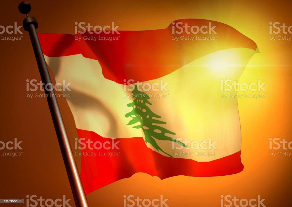 winner waving Lebanon flag against the sunset stock photo