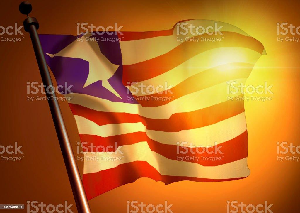 winner waving Liberia flag against the sunset stock photo