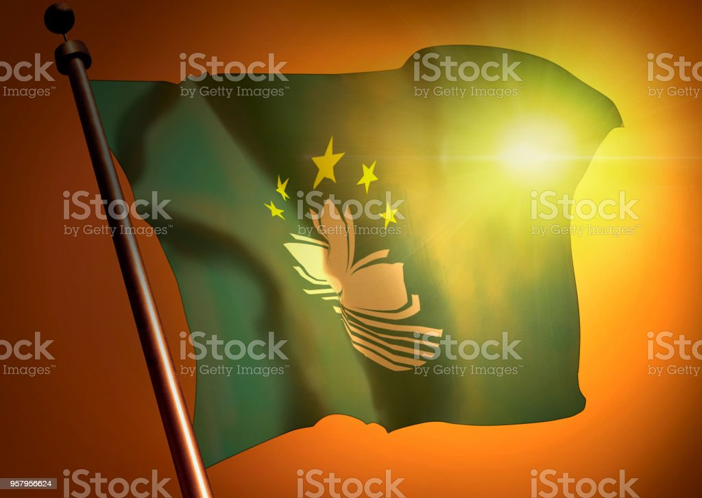 winner waving Macau flag against the sunset stock photo