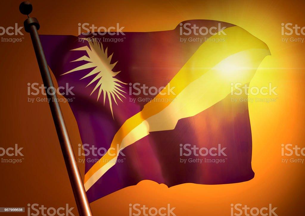 winner waving Marshall Islands flag against the sunset stock photo