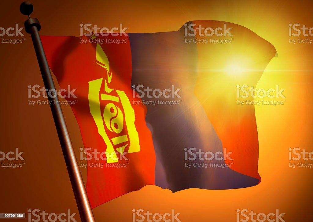 winner waving Mongolia flag against the sunset stock photo
