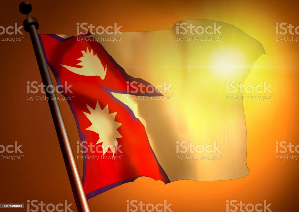 winner waving Nepal flag against the sunset stock photo