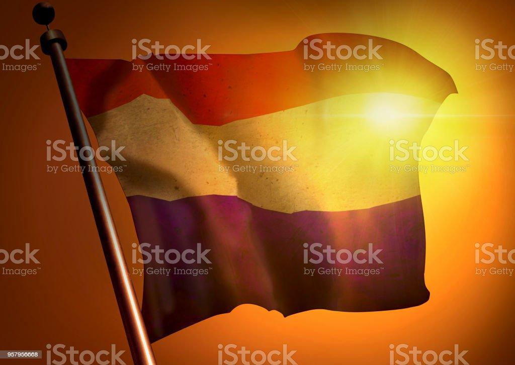 winner waving Netherlands flag against the sunset stock photo