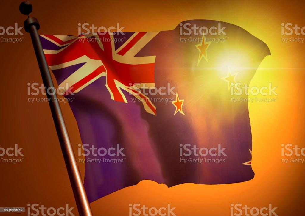 winner waving New Zealand flag against the sunset stock photo