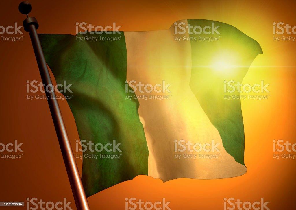 winner waving Nigeria flag against the sunset stock photo