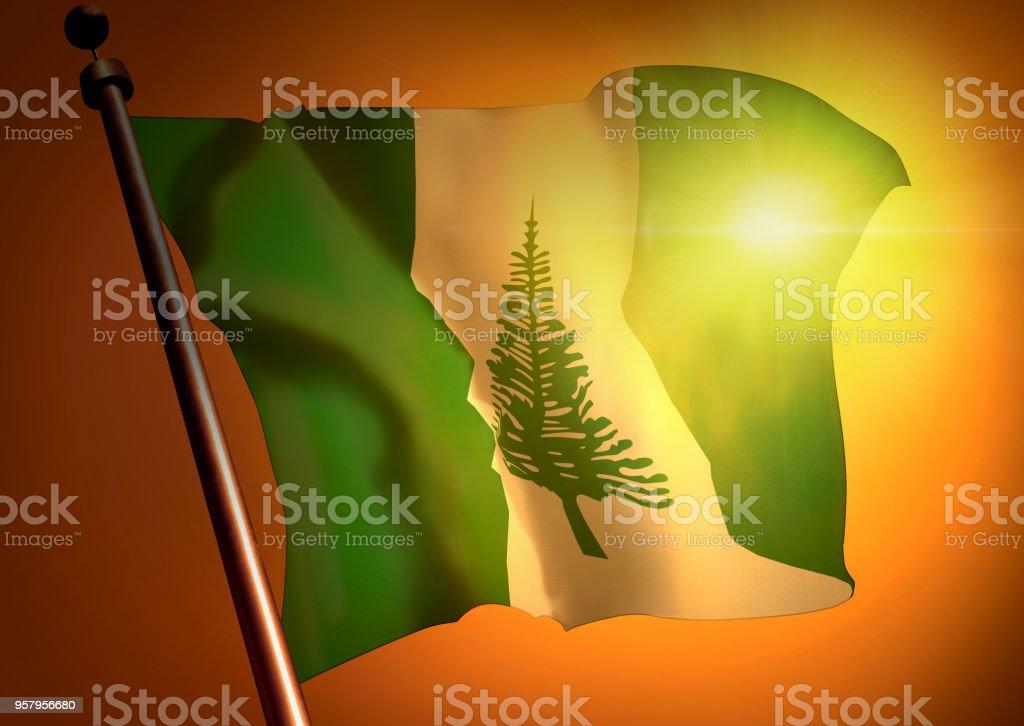 winner waving Norfolk Island flag against the sunset stock photo