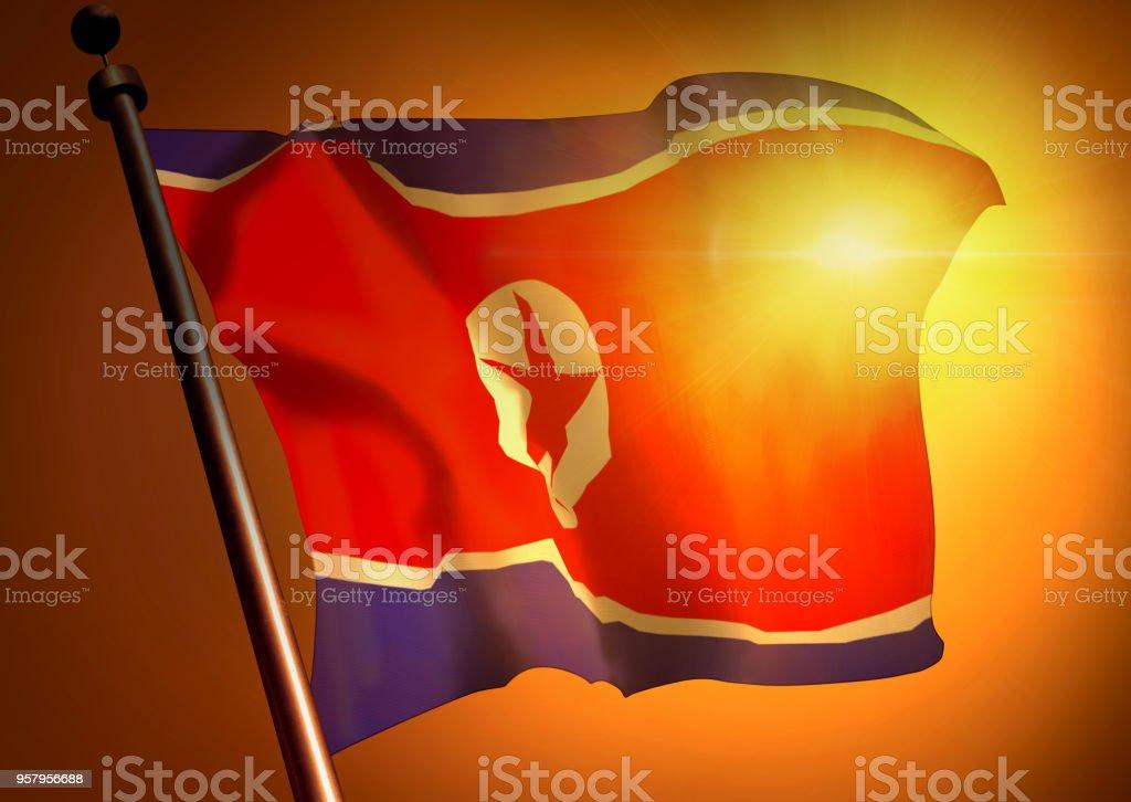 winner waving North Korea flag against the sunset stock photo