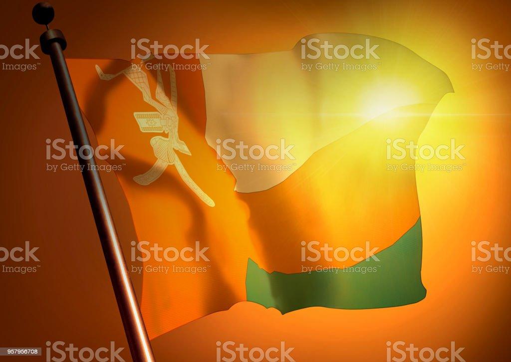 winner waving Oman flag against the sunset stock photo