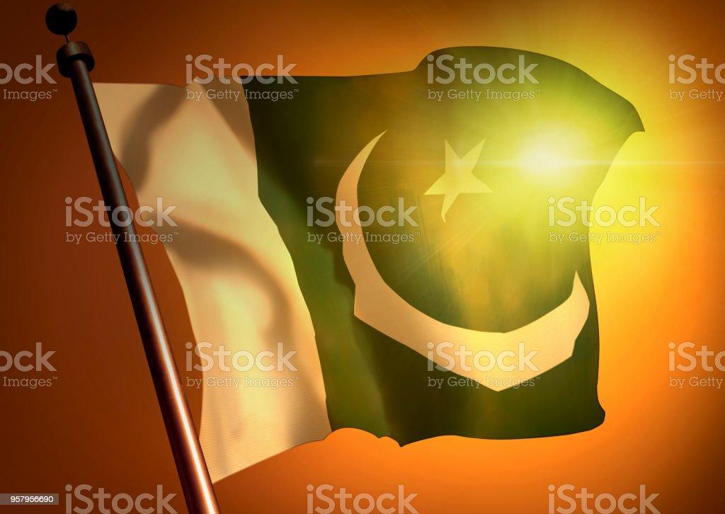 winner waving Pakistan flag against the sunset stock photo