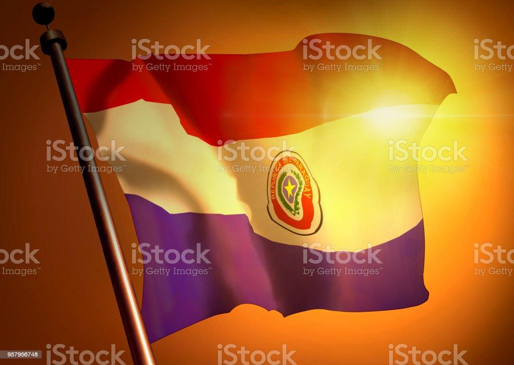 winner waving Paraguay flag against the sunset stock photo