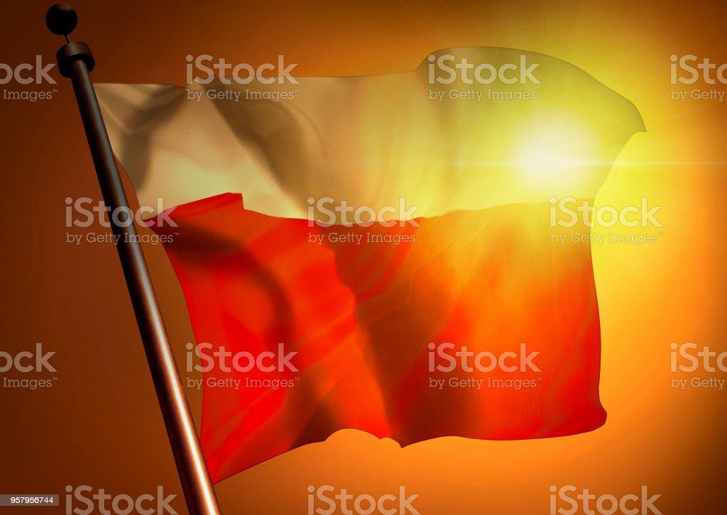 winner waving Poland flag against the sunset stock photo
