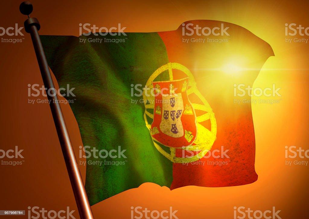 winner waving Portugal flag against the sunset stock photo