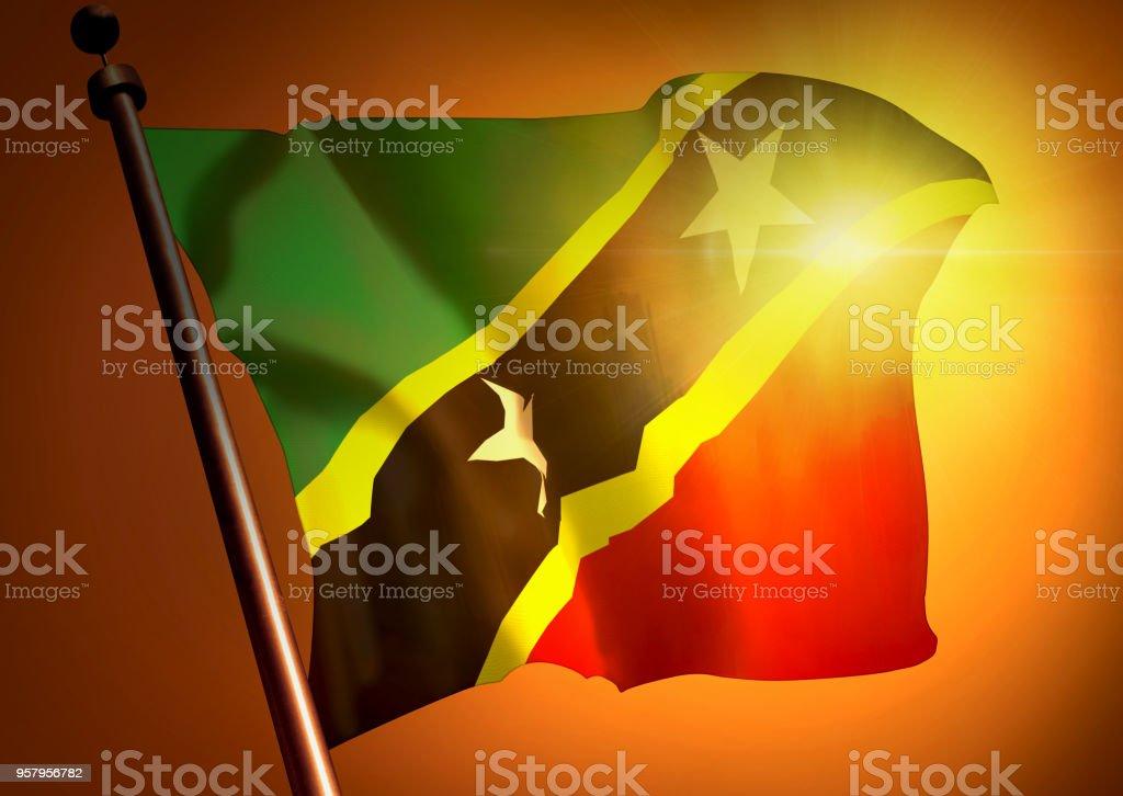 winner waving Saint Kitts And Nevis flag against the sunset stock photo