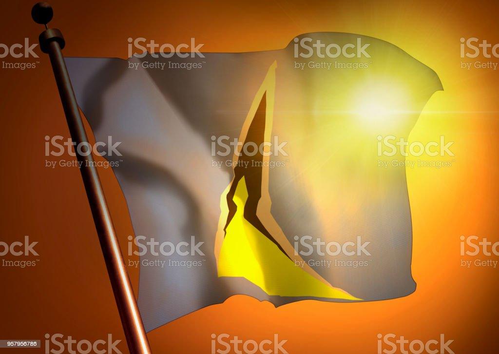 winner waving Saint Lucia flag against the sunset stock photo