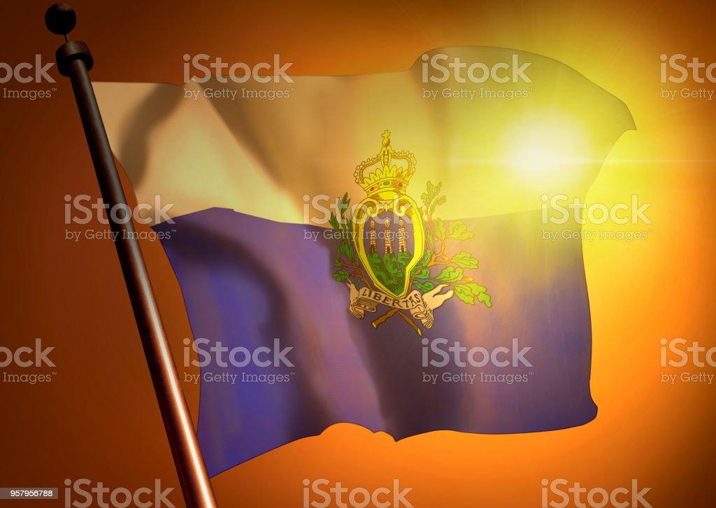 winner waving San Marino flag against the sunset stock photo