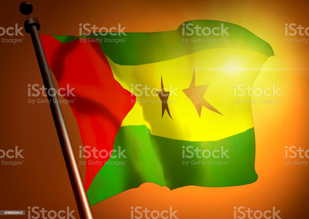 winner waving Sao Tome And Principe flag against the sunset stock photo