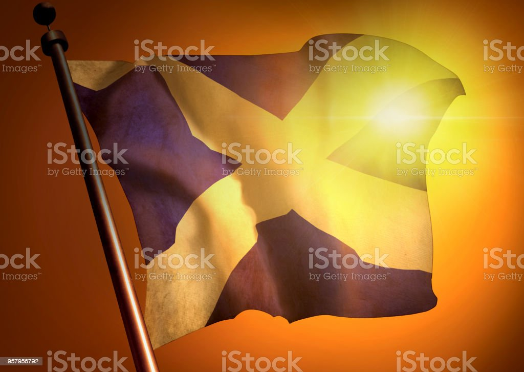 winner waving Scotland flag against the sunset stock photo