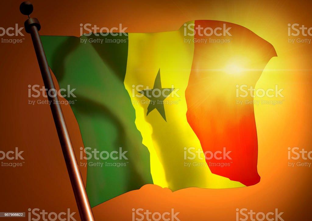 winner waving Senegal flag against the sunset stock photo