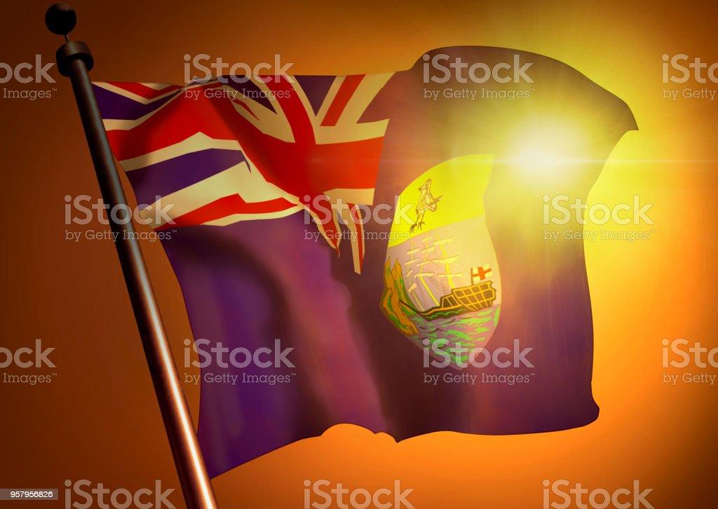 winner waving St.Helena flag against the sunset stock photo