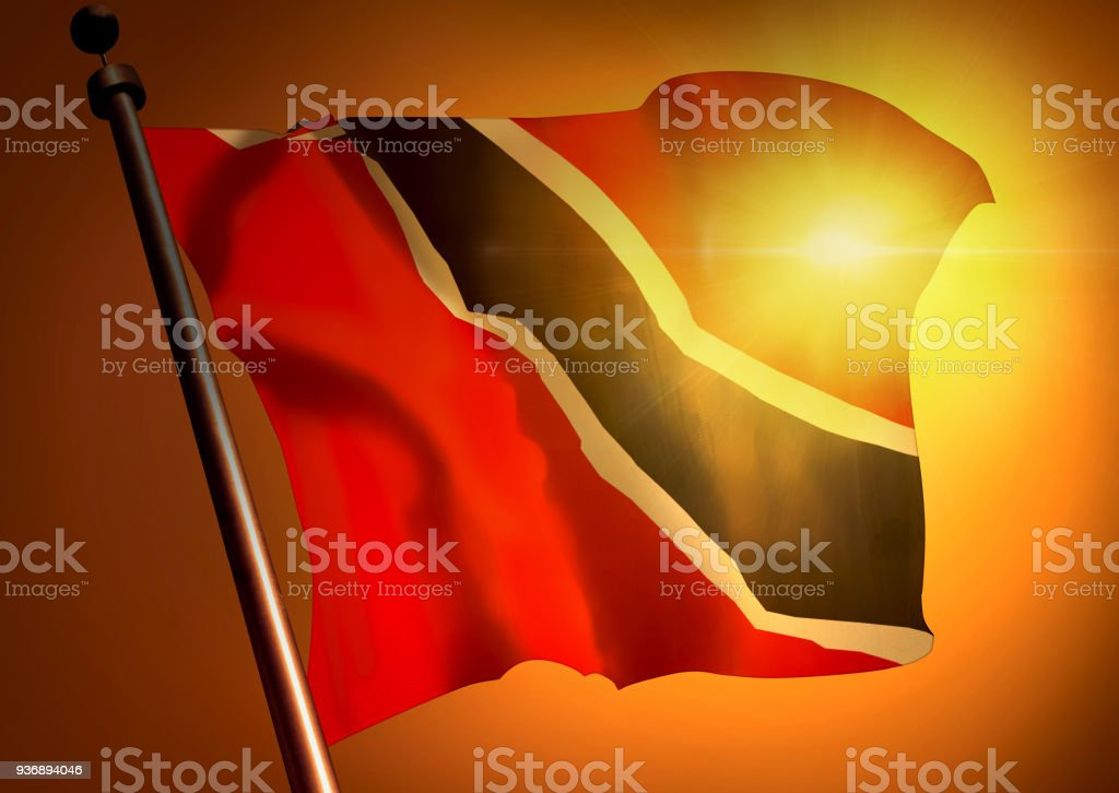 winner waving Trinidad And Tobago flag against the sunset stock photo