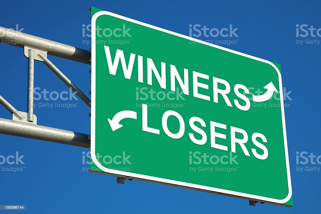 Winners and Losers Highway Sign royalty-free stock photo