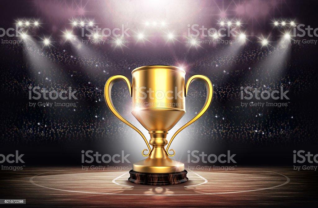 Winners cup in basketball stadium, 3d rendering photo libre de droits