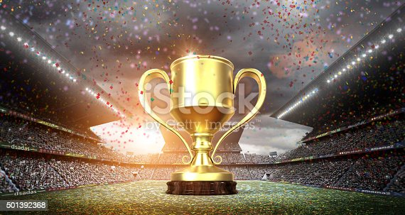 istock winners cup in the stadium 501392368