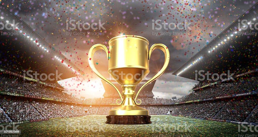 Vencedores da Copa no estádio - foto de acervo