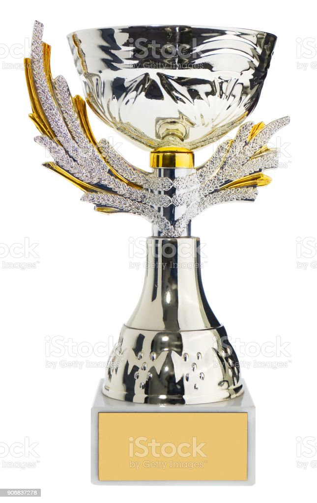 Winner's cup, silver, gold prize in the competition. Trophy in championships isolated on a white background. stock photo