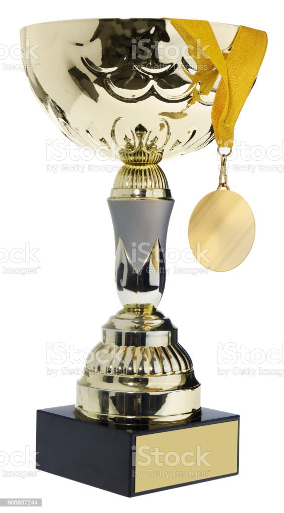 Winner's cup, silver, gold prize in the competition with a medal.. Trophy in championships isolated on a white background. stock photo