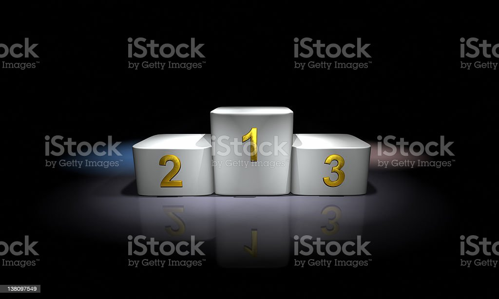 Winners medal podium, spotlighted in white royalty-free stock photo