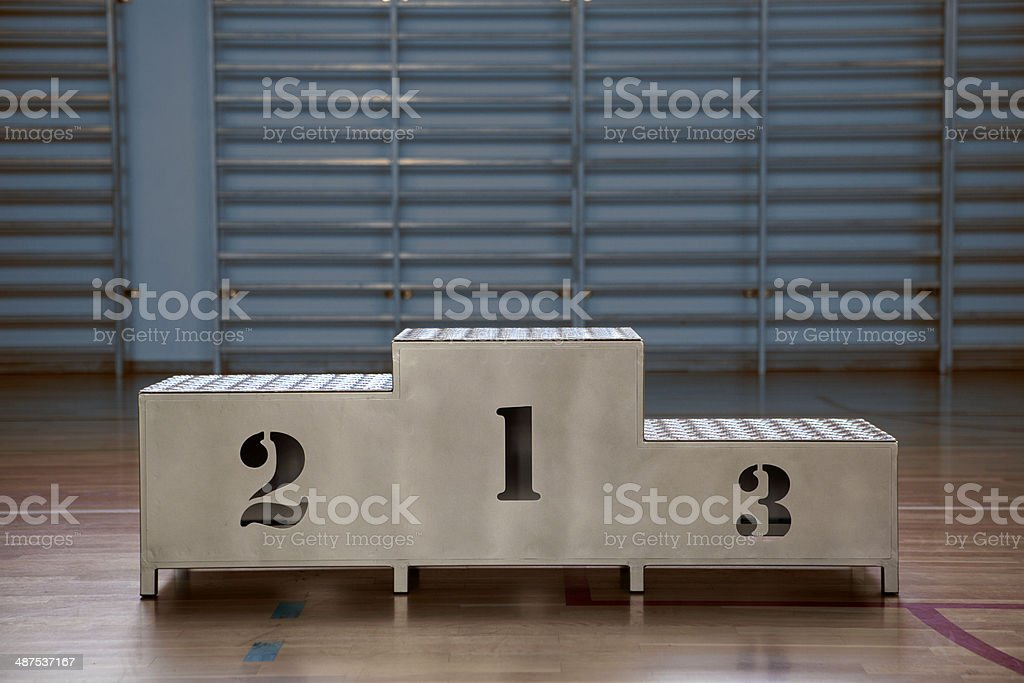 Winners podium with numerals stock photo