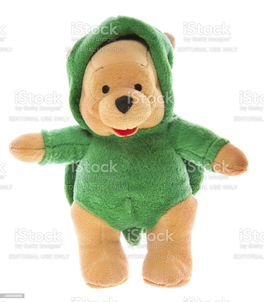 Winnie-the-Pooh Teddy Bear in Turtle Costume royalty-free stock photo