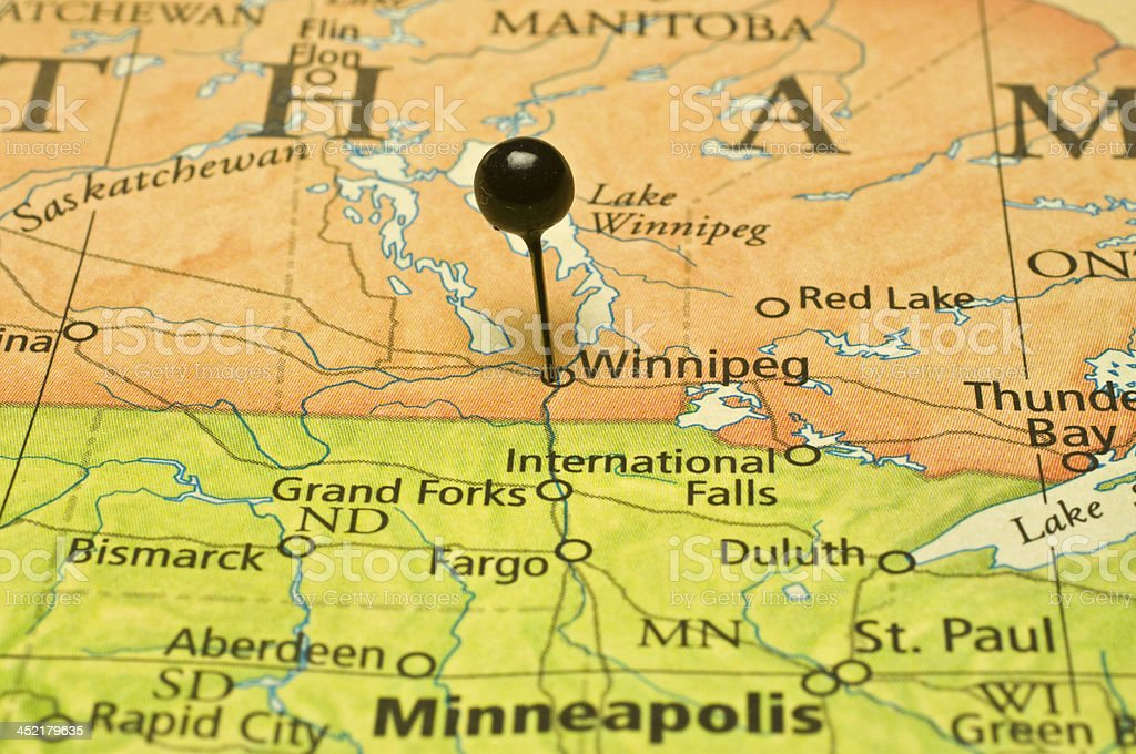 Winnigeg And Minneapolis State Border On Road Map stock photo