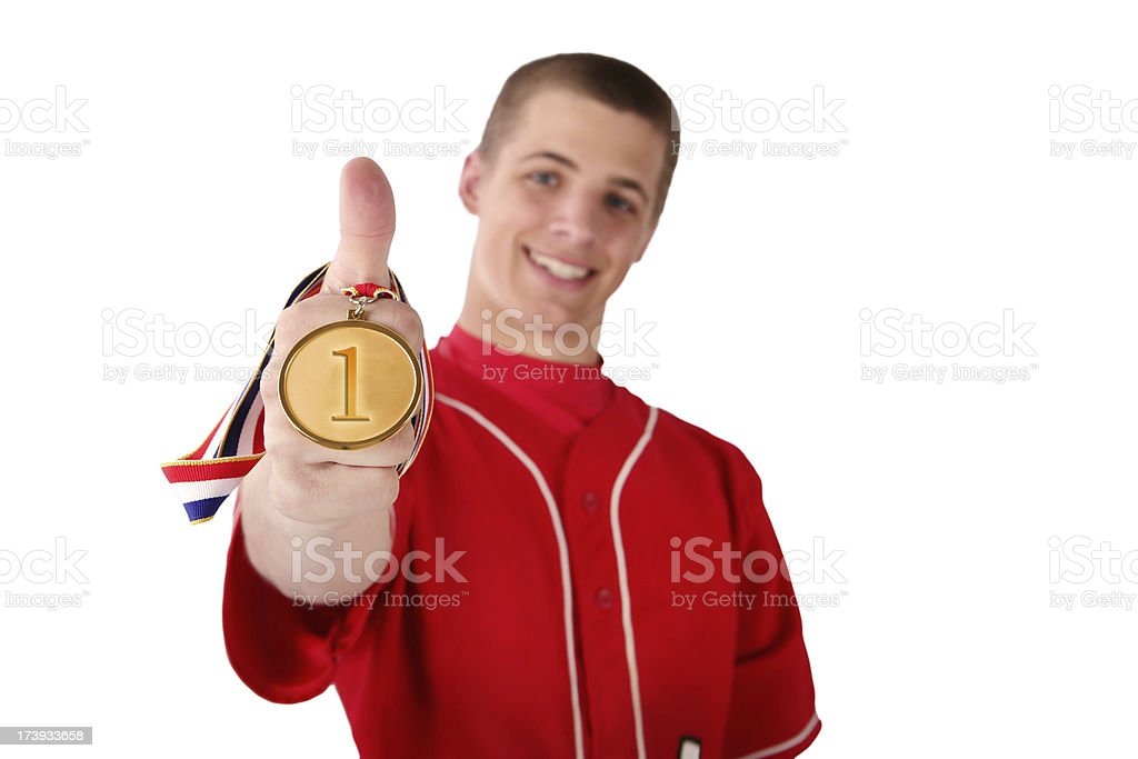 Winning Athlete with First Place Medal stock photo