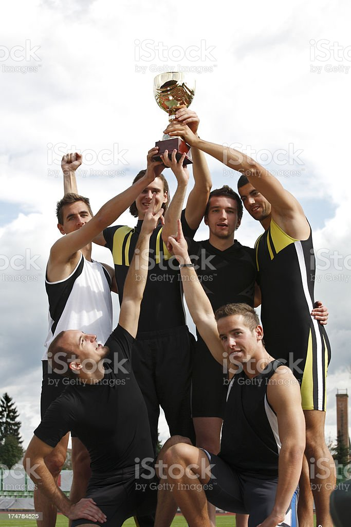 Winning athletic team royalty-free stock photo