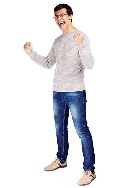 Preisgekrönte guy mit erhöhter Fäuste – Foto