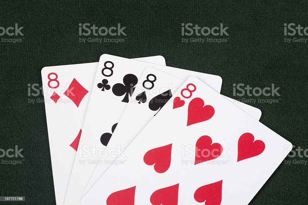 Winning Hand of Crazy Eights, Social Card Game, Entertainment, Family stock photo