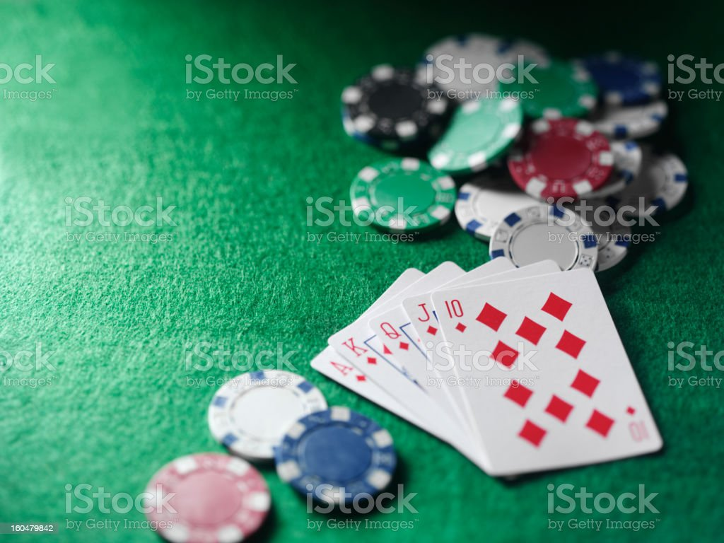 Winning in a Poker game stock photo